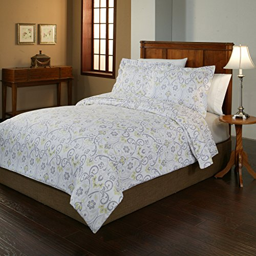 Pointehaven 2-Piece 200 GSM Flannel Duvet Cover Set, Twin/Twin X-Large, Printed, Meadow (Flannel Duvet Cover Twin compare prices)