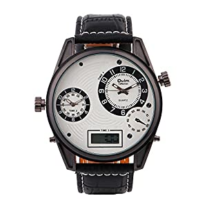 Oulm Brand Fashion Men Quartz Leather Strip Military Digital Men Watch White