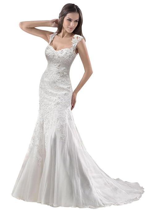 GEORGE BRIDE Removable Lace Strap Chapel Train Wedding Dress