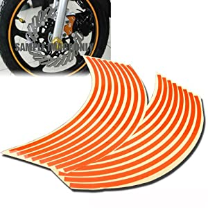"8mm Orange Reflective Rim Tape Wheel Stripe Decal Trim For Motorcycle Car 16""17""18"""