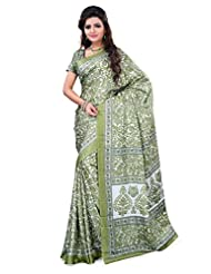 Alethia Green Crepe Daily Wear Printed Sarees With Blouse Piece - B013NAXI3Y