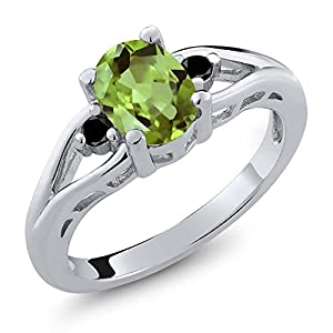 1.21 Ct Oval Green Peridot and Black Diamond 925 Sterling Silver Ring