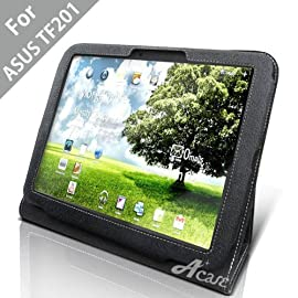 Acase(TM) Leather Case Cover and Flip Stand for ASUS TF201 Eee Pad Transformer Prime 10.1-Inch 32GB / 64GB  (Black)