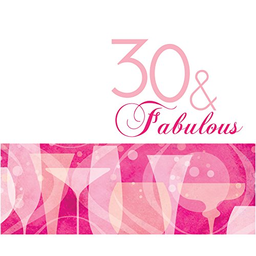 Creative Converting 16 Count 3-Ply Fabulous 30th Birthday Lunch Napkins, Pink - 1