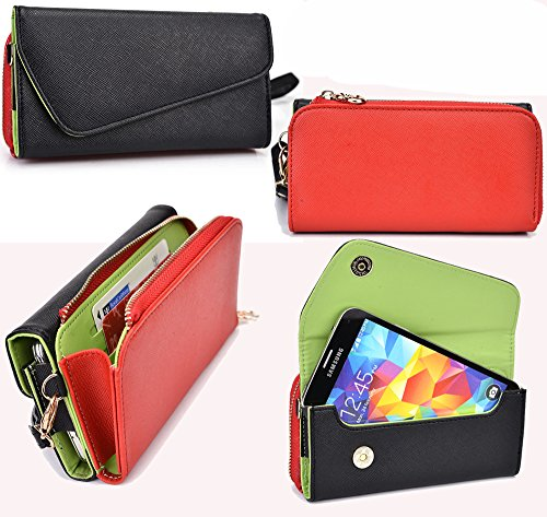 NuVur ™ All in One Universal Wallet Clutch Smartphone Case Fits LG E980, E985, E985T, E986, E988 ,E989, F240K, F240L Optimus G Pro 5.5 4G LTE|Black/Red (Lg G Pro E986 compare prices)