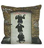 Bentin Home Decor Monkey Business Throw Pillow w/Zipper by Banksy, 18