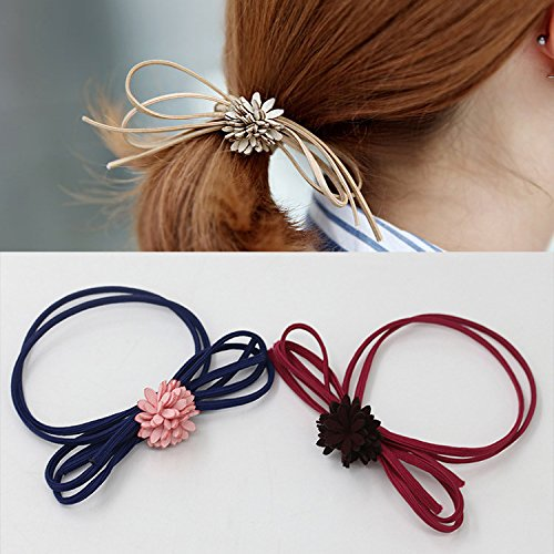 Fashion Women's Butterfly Flower Hair Rings Rope Rubber Band Ponytail Holder (5PCS) (Tie Dye Japanese compare prices)