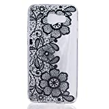 Etsue Clear Trsnaparent Soft Gel Case for Samsung Galaxy A5 2016,Pretty Black Flower Slim Soft Flexible Protective Case Cover for Samsung Galaxy A5 2016+Blue Stylus Pen+Bling Glitter Diamond Dust Plug Colors Random-Black Flower#5