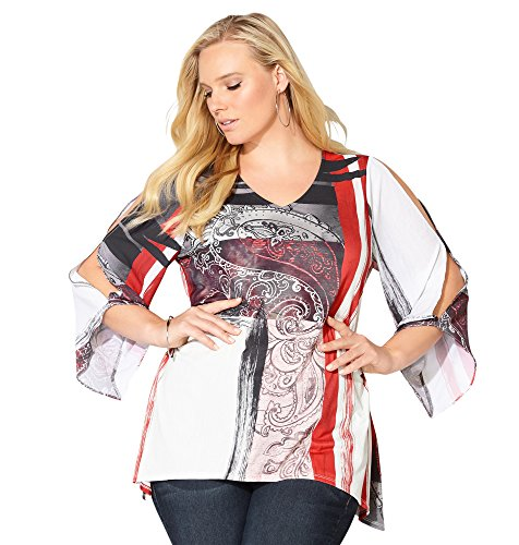 Avenue Women's Paisley Split Sleeve Sharkbite Top, 26/28 Black Multi (Plus Size Split Top compare prices)