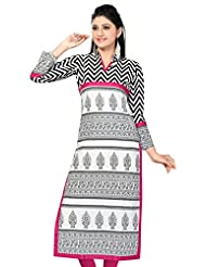 Meher Womens Cotton A-Line Kurta (K03-59-$P _White )