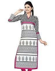 Meher Womens Cotton A-Line Kurta (K03-59-$P _White )
