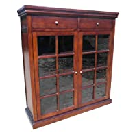 D-ART 2 Door 2 Drawer Glass Bookcase Cabinet - in Mahogany Wood