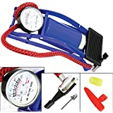 Portable Floor Foot Pump with Gauge, Needle & Adapter - LIFETIME WARRANTY - Multipurpose Floor Pump for Tires on Bicycles, Soccer Balls and Air Mattresses - Perfect Air Pump for Inflatables Comes with Adapter