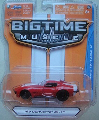 JADA BIG TIME MUSCLE RED AND WHITE '69 CORVETTE ZL-1 DIE-CAST