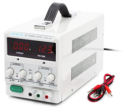 Lavolta BPS305 Variable Linear DC Power Supply 0 - 30V / 0 - 5A - Regulated Adjustable Lab Kit with Alligator Leads - US Power Cord (Dc Variable Power Supply compare prices)