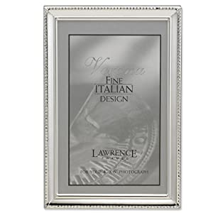 Lawrence Frames Polished Silver Plate 4x6 Picture Frame - Bead Border Design