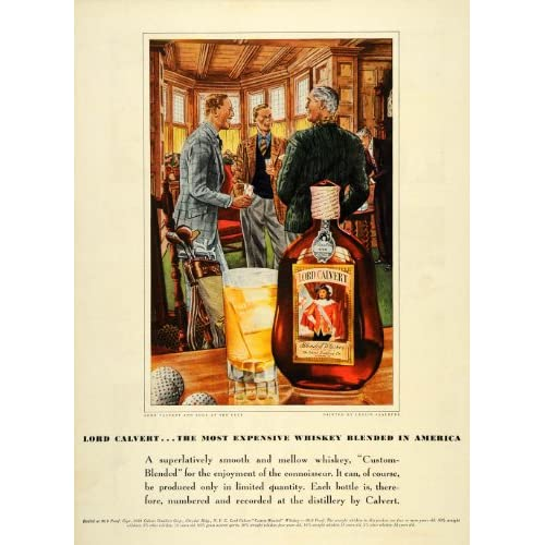 1939 Ad Lord Calvert Whiskey Soda Club Leslie Saalburg   Original Print Ad