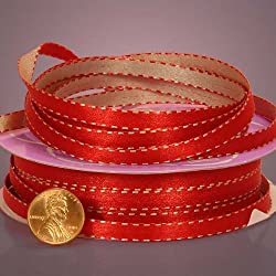 "Red and Silver Reversible Ribbon With Stitches, 1/4"" X 25yd"
