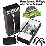 Wine Chiller Stick Fast Cut U Shaped Wine Cutter Travel Bag Aerator Made of Stainless Steel to Perfectly Chill Single Bottle of Red Wine Release Wines Flavor Aroma - Wine Stoppers & Pourers