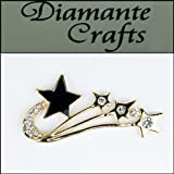 3D Shooting Star Gold Coloured Alloy Encrusted in Clear Diamantes with Black Enamel - Decoden Kawaii Cabochon - 3FST2013