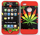 Heavy duty double impact hybrid Cover case Big Leaf hard plastic snap on over red soft silicone for Apple iphone 4 4G 4s for SPRINT/ Verizon/AT&T/VIRGIN MOBILE/US CELLULAR