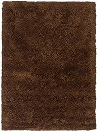 eCarpetGallery Handmade Shaggy Modena 4-Feet 7-Inch by 6-Feet 7-Inch Polypropylene Shag, Dark Brown