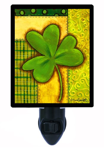 St. Patricks Day Night Light - Clover Patchwork - Irish Led Night Light