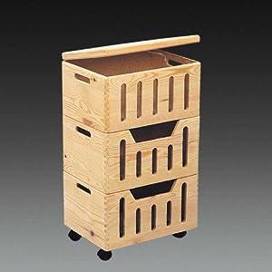 regal aufbewahrungskisten auf rollen von kesper 17604 aus kiefernholz dreiteilig und. Black Bedroom Furniture Sets. Home Design Ideas