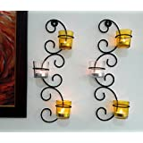 TIEDRIBBONS Decorative Tlight Holder /wall Sconce Holder Pack Of 2(Black, Metal)