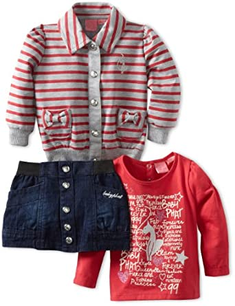 Baby Phat Infant 3 PC Denim Jacket/ Skirt Set,Dark Wash,24 Months
