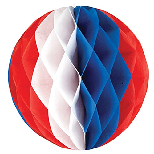 Creative Converting Red, White and Blue Honeycomb Tissue Ball - 1