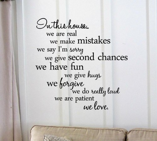 In This House...We Are Real We Make Mistakes We Say I'M Sorry We Give Second Chances We Have Fun We Give Hugs We Forgive We Do Really Loud We Are Patient We Love. Vinyl Wall Art Inspirational Quotes And Saying Home Decor Decal Sticker front-559276