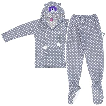 Raccoon Two-Piece Hooded Footed Pajamas for Women M