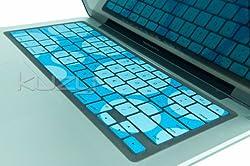 Kuzy - Circles Aqua/Blue Keyboard Silicone Cover Skin for Macbook / Macbook Pro 13, 15, 17 inches Aluminum Unibody
