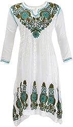 AKS Lucknow Women's Regular Fit Kurti (TK-69_44, WHITE , 44)