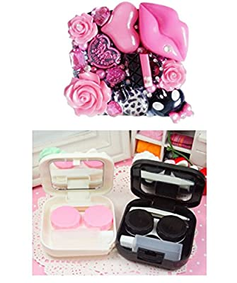 [PINK SKULL]Special Handmade Contact Lenses Box Case/Holders Storage Container