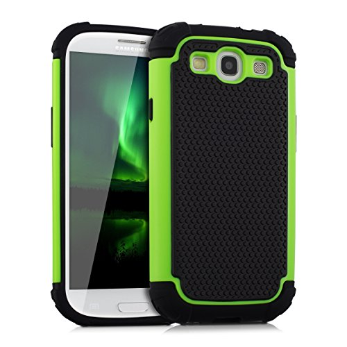 kwmobile Custodia Hybrid per Samsung Galaxy S3 i9300 / S3 Neo i9301, colore verde neon nero. Custodia interna in TPU contornata da custodia rigida! Ideale per uso all'aperto e ultramoderna. Qualità
