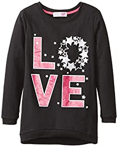 Derek Heart Big Girls' High-Low Sweatshirt with Sequin Love, True Black, Medium