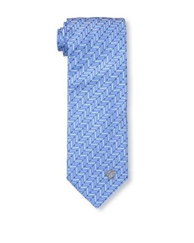 Versace Men's Herringbone Tie, Blue