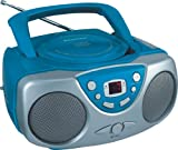 Sylvania SRCD243 Portable CD Player with AM/FM Radio, Boombox (Blue)