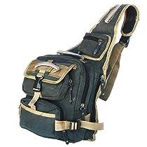 Military Inspired Canvas Sling Bag Bookbag Backpack Black