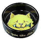 Trixie Keramiknapf, Katze, Do you like Fish, 0,3 l/ø 12 cm, schwarz