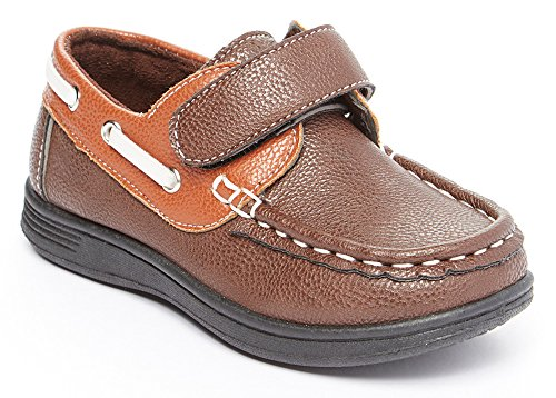 CoXist Boys Slip On Velcro Strap Deck Boat Shoe (Toddler/Little Kid/Big Kid) brown 7