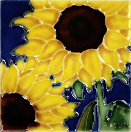 "Decorative Ceramic Art Tile - 4"" x 4"" - Sunflowers Close-Up"
