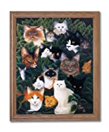 Cat Collage Kitty And Kitten Kids Room Home Decor Wall Picture Oak Framed Art Print