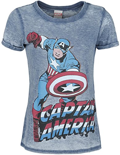 Captain America Burnout Washed Maglia donna blu M