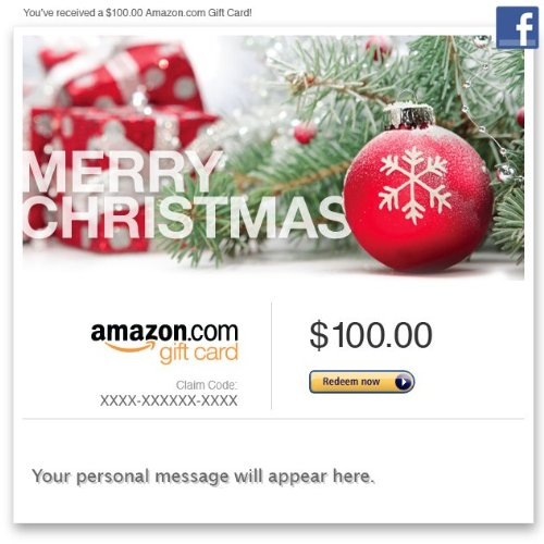 Amazon Gift Card – Facebook – Merry Christmas (Pine)