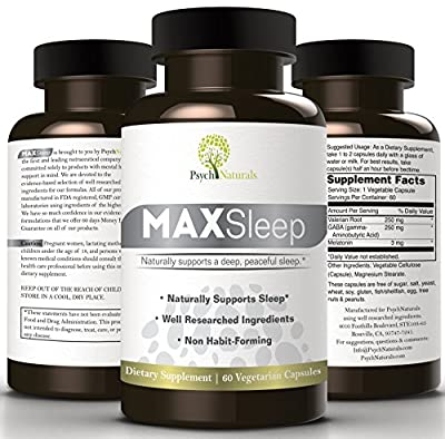 MAXSleep. 100% American Natural Sleep Aid To Counter Insomnia And Sleeplessness. Melatonin, GABA & Valerian Combined In Amazing Sleeping Pills For Sound and Refreshing Sleep, Always! 2 Months Supply!