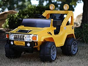 12V RC BATTERY POWER KIDS RIDE ON HUMMER JEEP CAR W/ BIG WHEELS & R/C REMOTE(YELLOW)