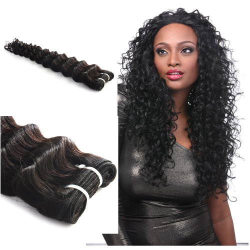 "Yesurprise Top Quality 24"" Brazilian Hair Extension Deep Wave Wavy Curly Long Remy Human Hair Weft"